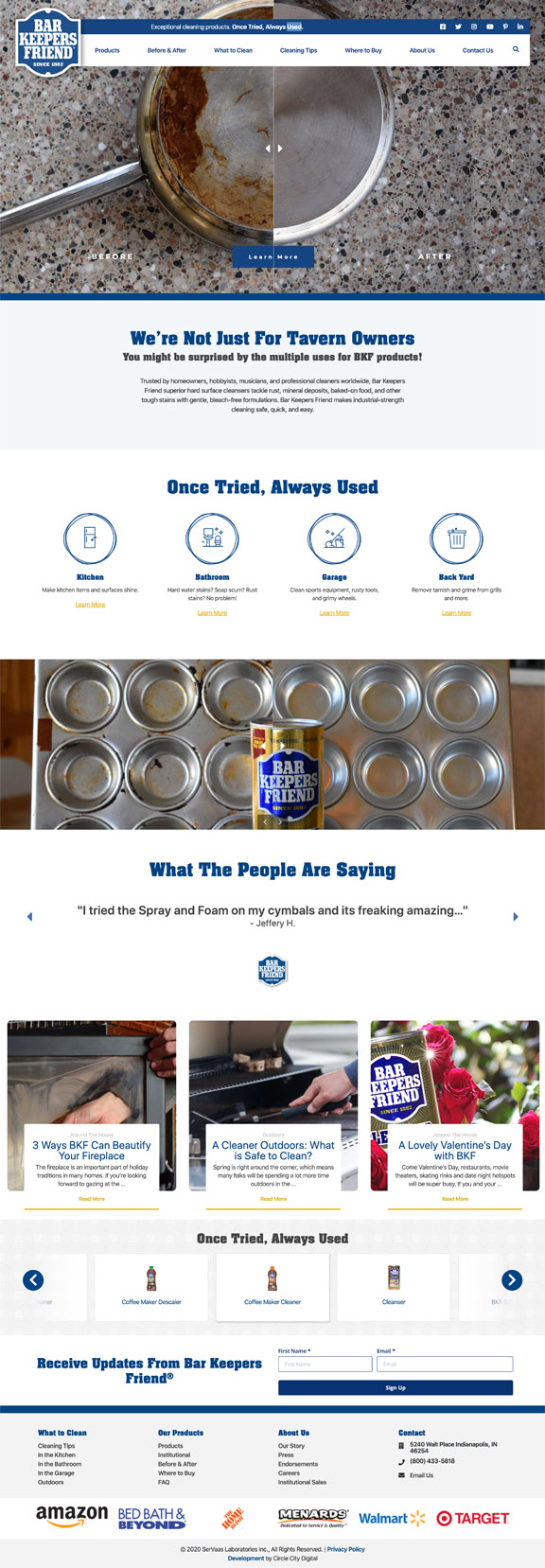 bar keepers friend website design